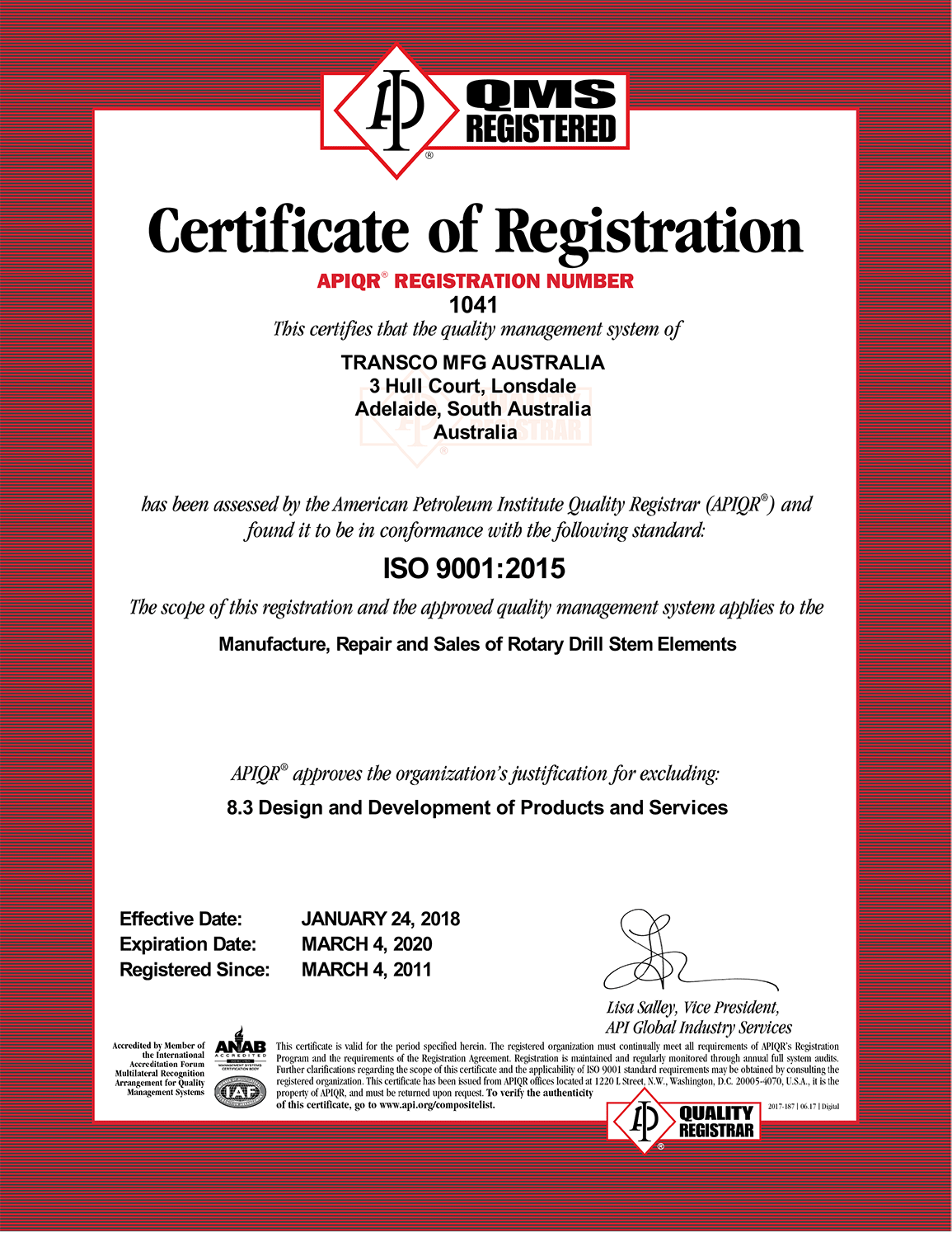 Certificate ISO 1041